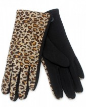 GL209-001 Gloves with Leopard Print Light Brown