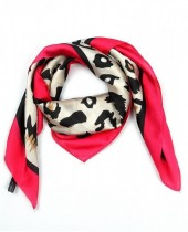 S-E4.4  S301-001A Scarf Silky Feel 70x70cm Leopard Brown-Pink
