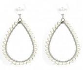 A-D6.3 E1631-003B Earrings Pearls 4.5x2.5cm Silver