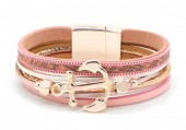B218-002 Leather Bracelet with Anchor Pink