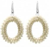 B-E16.1  E007-001 Facet Glass Beads 4.5x3.5cm Beige