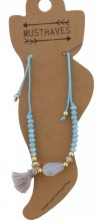 F-D18.1  ANK221-018 Anklet Beads with Mixed Colored Tassels Blue