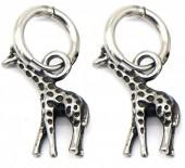 B-D18.4 E2011-006 S. Steel 10mm Earring with 20mm Giraffe Silver