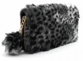 Q-C2.2 WA117-005 Soft Fake Fur Wallet with Pompon 19x10cm Animal Print Grey