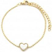 A-F5.1 B2003-017 S. Steel Bracelet 10mm Heart with Mother of Pearl Gold