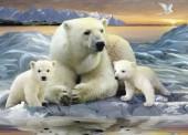 Q-E7.1 S198 Diamond Painting Set Polar Bear Family 50x40cm