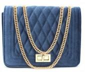 Y-D6.1 BAG122-004 Trendy Velvet Shoulder Bag Blue 24x18x7cm