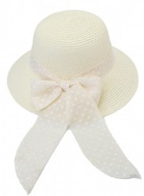 HAT210-003 Hat with Bow with Polka Dots White