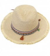 HAT210-004 Ibiza Style Hat with Tassels and Beads Beige