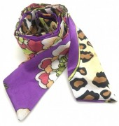 H415-001F Hair Scarf Leopard Mix 100x5cm Purple