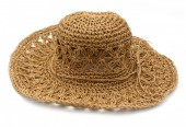 Q-F7.1 HAT211-001 Woven Hat 37cm with Adjustable Head Size Brown