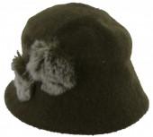 X-J2.2  Woolen Hat with Fake Fur Pompons Green