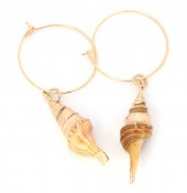 E-E4.1  E304-025 Hoop Earrings with Gold Plated Shell
