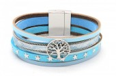 B218-001 Leather Bracelet with Stars and Tree of Life Blue