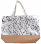 Y-B6.5  BAG217-020B Beach Bag with Wicker and Metallic Snake Print 54x40cm White -Silver