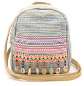Q-C4.2 BAG027-008 Trendy Backpack Ibiza with Glitters and Shells 22x20x10cm Blue