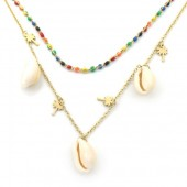 C-C22.3 N301-033 Layered S. Steel Necklace Shells-Palmtrees Multi Color - Gold
