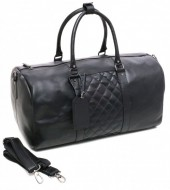 Z-B3.1 Leather Duffle Bag with Checkered Design 54x27x24cm Black