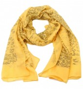 S205-002 Scarf with Animal Print and Glitters 70x180cm Ocher Yellow