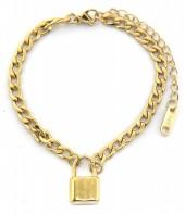 F-F8.1  BN2033-020AG S. Steel Bracelet with 16mm Lock Gold