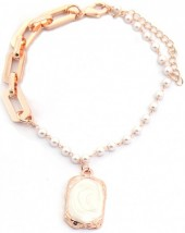 D-D7.1 B2019-003RG Chain Bracelet with Pearls Rose Gold