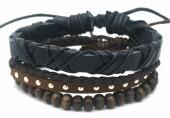 B517-004 Leather Bracelet Set with Wood