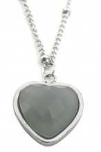 B-E17.3 N1934-009 Stainless Steel Necklace with 20mm Heart with Labrodorite Silver