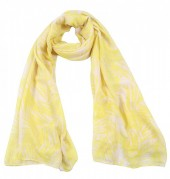 X-O2.1 S313-006 Scarf with Leaves 80x190cm Yellow