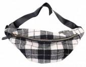 T-G2.3 BAG120-005 Trendy Waist Bag with Checkered Fabric Black-White-Grey