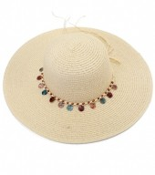 HAT210-002 Hat with Wooden Beads Beige