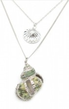 G-C5.2 N304-044 Necklace 2 Layers with Shells Silver