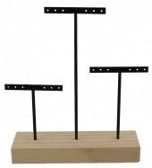 Q-D7.2 PK424-002 Wood with Metal Earring Display 22x18x5cm