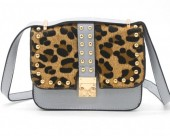 Q-J2.1  BAG009-008 Trendy PU Bag with Studs and Leopard Print Grey 20x20x6 cm