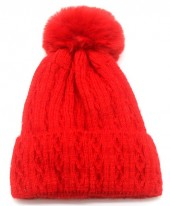 T-M6.1 HAT005-014H Beanie with Pompon Red
