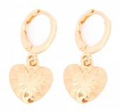 E-D7.3  E304-019 Metal Earrings with Heart Gold