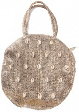 Z-A2.5 BAG533-006A Woven Straw Bag with Shells 35x8cm Brown-Gold
