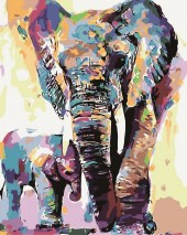 Y-A4.4  MS7889 Paint By Number Set Elephant Lisa 50x40cm