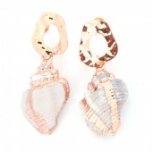 E-E6.4 E304-029 Metal Earrings with Gold Plated Shell