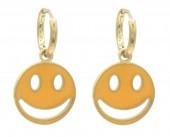 B-E19.1  E221-241B S. Steel Earrings Smiley 1x2.3cm Gold-Orange