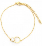 C-B17.4  B016-003 Stainless Steel Bracelet Circles with Crystals Gold