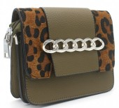 T-M2.1  BAG122-019 PU Bag with Chain and Leopard Print Green 20x15x6 cm