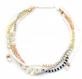 A-B18.1 B2039-004B Layered Bracelet with Beads Whitee