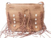 Y-C4.2 BAG533-001C Straw Bag with Fringes and Shells Brown