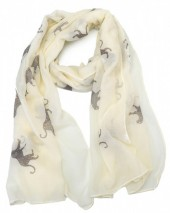 S205-001 Scarf with Leopards and Glitters 70x180cm Yellow