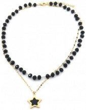 C-D3.1  N2020-002G S. Steel Necklace Glassbeads and 20mm Star Gold