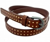 C-C12.1 HM-080 Leather Belt with Gold Dots 2x85cm