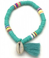 B-B3.2 B412-001B Surf Bracelet with Tassel and Shell Blue