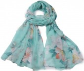 X-G3.1  SCARF507-007B Scarf with Flowers 180x90cm Green-Blue