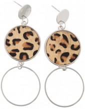 E-C7.4  E006-004 Earrings with Animal Print Gold-Silver 8x3 cm