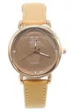 B-D5.1 W523-028 PU Quartz Watch 34mm Brown